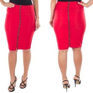 Women Pencil Skirt with Zipper, D-4031, Red